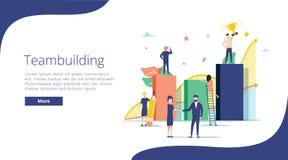 Team building concept illustration, perfect for web design, banner, mobile app, landing page, vector flat design. Team work, cooperation of businessmen and royalty free illustration
