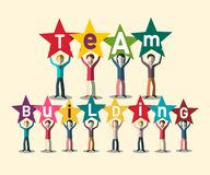 Team Building Concept With People Holding Letters. On Stars. Vector Teamwork Design royalty free illustration