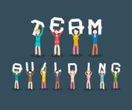 Team Building Concept. People Holding Letters. Vector Teamwork Design stock illustration