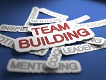 Team Building Concept. Team Building Text on Blue Background with Selective Focus. 3D Render Stock Images