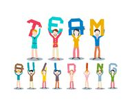 Team Building Concept. Vector Leadership Design Isolated on White Background. Group of People Holding Letters above Heads royalty free illustration