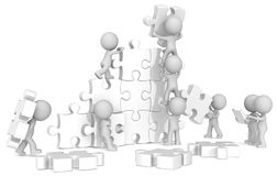Team Building. The dude x 9 building large white puzzle from blueprint vector illustration