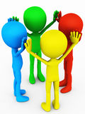 Team building exercise. Colorful 3d people holding hands high showing team spirit, team building exercise, different colors represent diversity in skills and Stock Photo