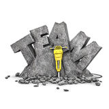 Team building exercise. 3D illustration of word team cut from stone block with jackhammer Royalty Free Stock Photo