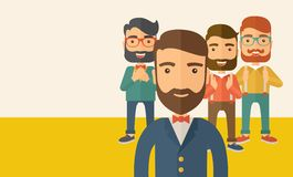 Team building. Team of four happy hipster Caucasian business people with beard, standing clapping their hands and smiling. Winner, teamwork concept. A Stock Image