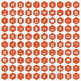 100 team building icons hexagon orange. 100 team building icons set in orange hexagon isolated vector illustration Vector Illustration