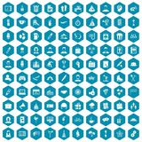 100 team building icons sapphirine violet. 100 team building icons set in sapphirine hexagon isolated vector illustration Stock Image