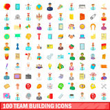 100 team building icons set, cartoon style Royalty Free Stock Image