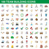 100 team building icons set, cartoon style. 100 team building icons set in cartoon style for any design vector illustration Stock Photos