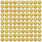 100 team building icons set gold. 100 team building icons set in gold circle isolated on white vector illustration Stock Illustration