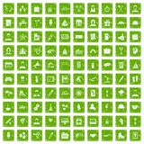100 team building icons set grunge green Royalty Free Stock Images