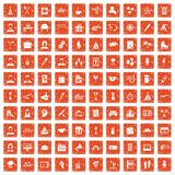 100 team building icons set grunge orange. 100 team building icons set in grunge style orange color isolated on white background vector illustration Royalty Free Stock Image