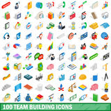 100 team building icons set, isometric 3d style Royalty Free Stock Image
