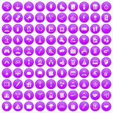 100 team building icons set purple. 100 team building icons set in purple circle isolated on white vector illustration Royalty Free Illustration