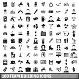 100 team building icons set, simple style Royalty Free Stock Photography