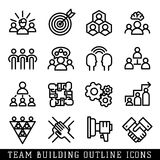 Team building icons vector. Set of four teamwork icons handshake corporate resources. People symbol communication and organization partnership. Leadership Royalty Free Stock Images