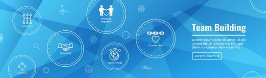 Team Building, lavoro di squadra, - icona di connettività messa con il bastone Figu illustrazione di stock