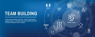 Team Building, lavoro di squadra, - icona di connettività messa con il bastone Figu royalty illustrazione gratis