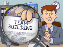 Team Building through Magnifying Glass. Doodle Design. Royalty Free Stock Images