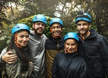 Team building outdoor in the forest Stock Photography