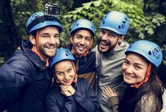 Team building outdoor in the forest royalty free stock photo