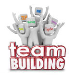 Team Building People Employees Behind 3d Words in Training Exerc. Team Building red 3d Words and cheering people, employees or teammates at a retreat or learning Royalty Free Stock Images
