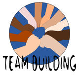 Team Building. People's hands making a circle stock illustration