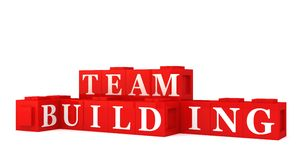 Team building sign. Red building blocks spelling out team building, white background Stock Photo