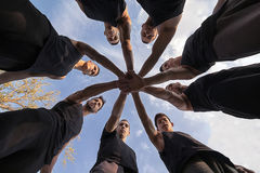 Team Building. Teamwork Stacking Hands Concept. Synergy. stock images