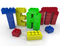 Team Building with Toy Blocks. Team building - putting letters together with toy blocks Royalty Free Stock Photo