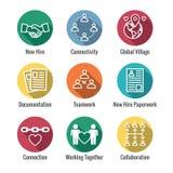 Team Building, trabajo en equipo, e icono de la conectividad fijado con el palillo Fi libre illustration