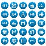 Team building training icons set vetor blue. Team building work training icons set. Simple illustration of 25 team building work training vector icons blue Stock Photo