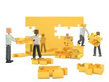Team building a wall. Illustration of mannequins working together to construct a gold wall using jigsaw pieces: metaphor for building a business team Royalty Free Stock Image