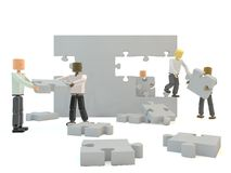 Team building a wall. Illustration of ' team building ' with four mannequins putting blank  jigsaw pieces into place to make a complete wall Stock Photography