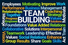 Team Building Word Cloud. On Blue Background vector illustration
