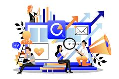 Marketers analyzes data, develops product promotion strategy. Vector illustration. Digital marketing searching trends
