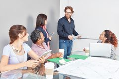Team in business meeting presentation. With whiteboard Royalty Free Stock Photography