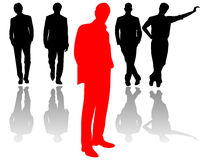 Team of business men with the leader in front Royalty Free Stock Images