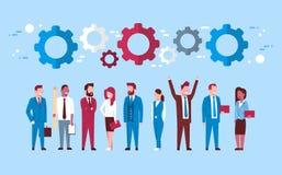Team Of Business People Over Cogwheel Background Teamwork And Brainstorming Concept. Flat Vector Illustration vector illustration