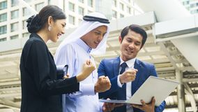 Team of  business people smart man and woman talk and present on Royalty Free Stock Image