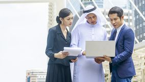 Team of  business people smart man and woman talk and present on Stock Photography