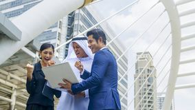 Team of  business people smart man and woman talk and present on Stock Images
