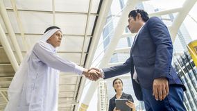 Team of  business people smart man and woman talk and shake hand Stock Photography