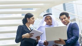 Team of  business people smart man and woman talk and present on Royalty Free Stock Photography