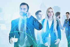 Team of business people, stock market concept royalty free stock photography