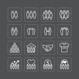 Team and business silhouette icons flat line design vector set. Royalty Free Stock Image