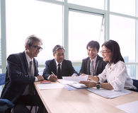 Team of business working people  explain project planing and tal Royalty Free Stock Image