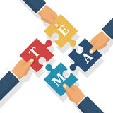 Team businessman holds puzzles in hands. Pieces together. Teamwork concept. Business partnership metaphor. Vector illustration flat style design. Symbol of Stock Images