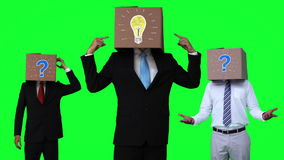 Team of businessman pointing box stock video
