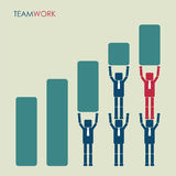 Team businessmans with leader grow up graphic. Teamwork concept. Royalty Free Stock Images